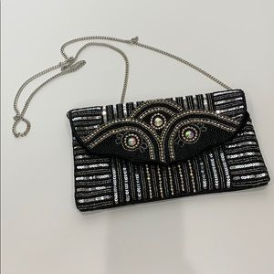 Charming Charlie Black Sequin Chain Strap Clutch